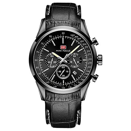 QZPM Reloj De Cuarzo Analógico para Hombre Calendario Multifunción Impermeable Cronógrafo Correa De Cuero Manos Luminosas Relojes para Hombre,Negro