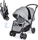 COSTWAY Foldable Baby Pram - Double Seat Push Stroller with Adjustable Backrest, Push