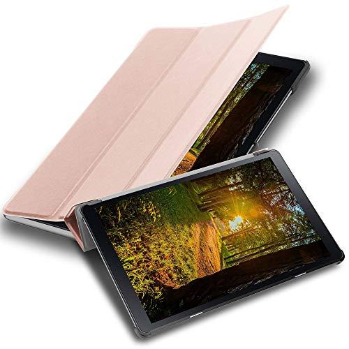 Cadorabo Funda Tableta para Samsung Galaxy Tab A (10.5' Zoll) T590 in Oro Rosa Pastel – Cubierta Proteccíon Bien Fina en Cuero Artificial en Estilo Libro con Auto Wake Up e Función de Suporte