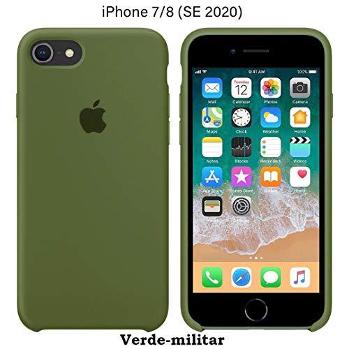 Funda Silicona para iPhone 8 / iPhone 7 / SE 2ª generación, Silicone Case Calidad, Textura Suave, Forro Interno Microfibra (Verde-Militar)