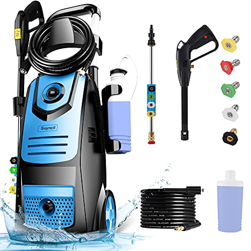 Suyncll Pressure Washer 3800PSI 2.8 GPM Electric Pressure Washer with Reel High Power Washer Machine Cleaner with Nozzles, Spray Gun,Detergent Tank for Cleaning Homes,Cars,Driveways,Patios