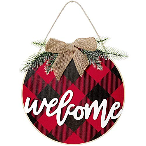 Christmas wood Welcome Sign Buffalo Plaid Welcome Rustic Front Door Decor Wooden Hanging Sign Rustic Farmhouse Porch Decoration for Christmas, Home, Outdoor