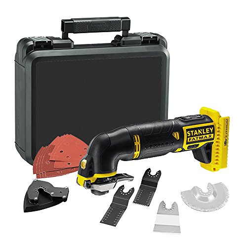 STANLEY FATMAX FMC710D2-QW - Multiherramienta oscilante 18V con 2 baterías de litio 2Ah, accesorios y maletín