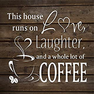 weewen This House Runs On Love Laughter Coffee Housewarming Dining Area Wood Plaque Cabin Wall Art Home Family Decoration Sign
