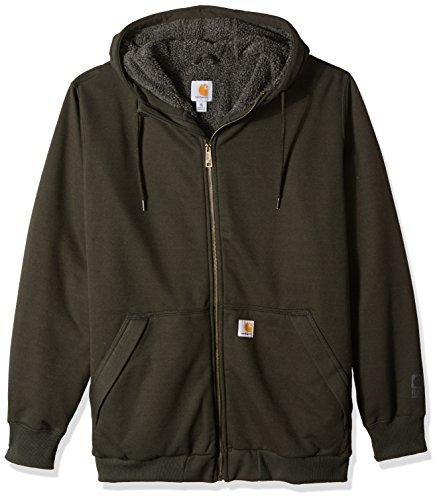Carhartt Men's Big Big & Tall RD Rockland Sherpa Lined Hooded Sweatshirt, peat, X-Large/Tall