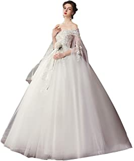 Bride A-line Vintage Lace Wedding Dress Tulle Prom Gown Elegant Formal Party Fluffy Skirt beautiful