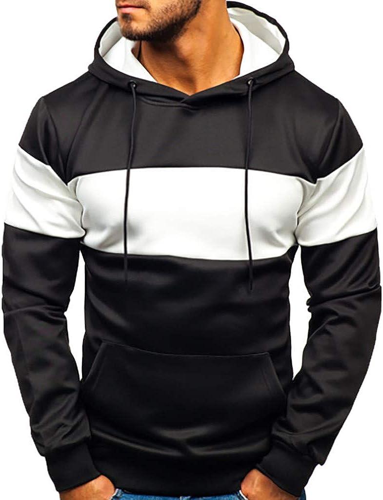 LIUguoo Patchwork Hoodie for Men, Casual Long Sleeve Pullover Sweatshirt with Pocket Winter Athletic Hoodie Slim Fit