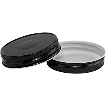 North Mountain Supply Regular Mouth Metal One Piece Mason Jar Safety Button Lids (Pack of 12, Black)