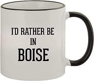 I'd Rather Be In BOISE - 11oz Ceramic Colored Rim & Handle Coffee Mug, Black