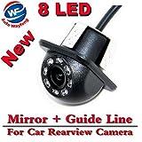 Auto Wayfeng WF 8 LED HD CCD coche cámara de visión trasera Night Vision Gran angular coche cámara de visión trasera coche de reversión de copia de seguridad para la cámara de monitor de aparcamiento