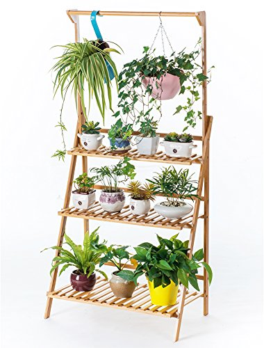 Bamboo 3-Tier Hanging Plant Stand Planter Shelves Flower Pot Organizer Storage Rack Folding Display Shelving Plants Shelf Unit Holder