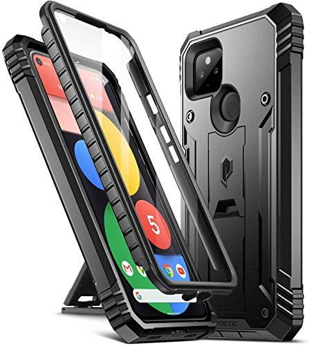 Poetic Revolution Series for Google Pixel 5 Case, Full-Body Rugged Dual-Layer Shockproof Protective Cover with Kickstand and Built-In-Screen Protector, Black