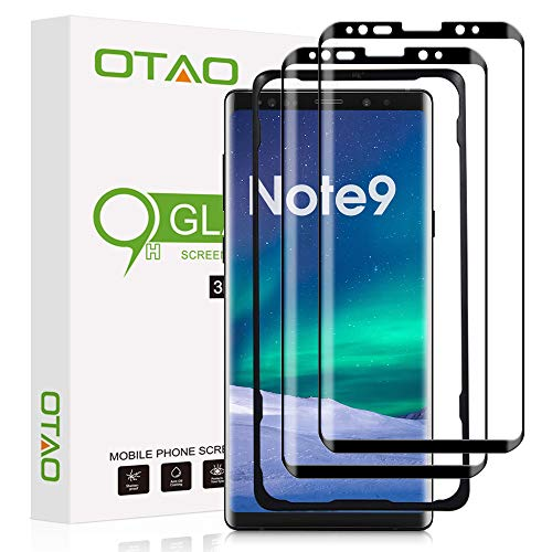 (2 Pack) OTAO Screen Protector for Samsung Galaxy Note 9, 3D Curved Dot Matrix [Full Screen Coverage] Screen Protector Tempered Glass with Installation Tray for Samsung Note 9