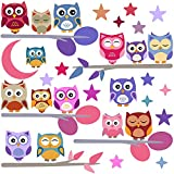 Owls Wall Stickers Set for Kids - Nursery Decor Easy to Apply - Decals for Bedrooms for Girls Boys (Owls Colored)