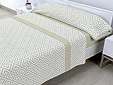 Cabetex Home - Juego de sábanas termicas de pirineo - 3 Piezas - 120 Gr/m2 - Mod. Talas (Beige, 90_x_190/200 cm)