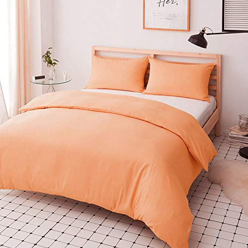 Duvet Quilt Cover Set - Poly Cotton Plain Dyed Bedding Set With Matching Pillowcases- Easy Care Machine Washable - Durable   Single Double King Super King Bed Size (Peach, Double)