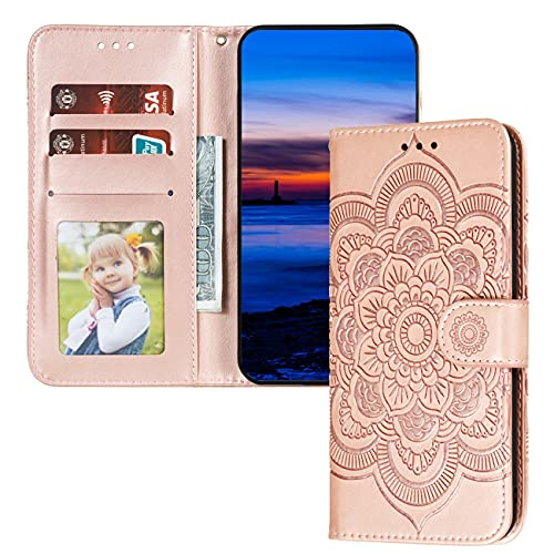 QIWEIQING Huawei Y6 2019 Hülle PU Leder Cover Schutzhülle Magnet Tasche Flip Handytasche im Bookstyle Kartenfächer Lederhülle für Huawei Y6 Pro 2019 / Honor Play 8A Rose Gold Mandala LD