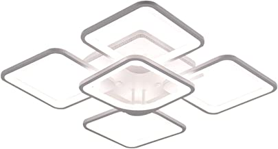 Ganeed Modern Ceiling Light, Flush Mount Square LED Ceiling Lighting Fixtures, White Acrylic Ceiling Lamps 60W Surface Mou...
