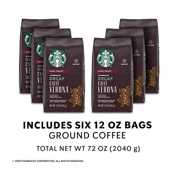 Starbucks Decaf Ground Coffee — Decaf Caffè Verona — 100% Arabica — 6 bags (12 oz.) 6 Decaf Caffè Verona coffee is well-balanced and rich with a dark cocoa texture While the look of the package has changed, this is still the same great-tasting Starbucks coffee you know and love Enjoy the Starbucks coffee you love without leaving the house