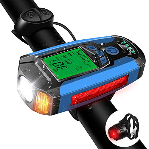 Bike Lights Set, Bike Speedometer, USB Rechargeable Headlight Taillight Combinations with Loud Bike Bell, 350 Lumen 5 Lighting Modes Flashlight Riding Hiking Camping All Mountain & Road Cycling