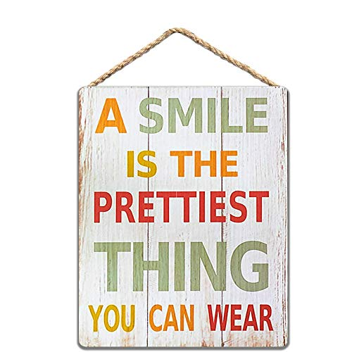 A Smile is The Prettiest Thing You Can Wear Wood Sign 8x12 Inch / 20x30 cm
