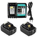 Batería de repuesto para Makita de 18 V, 3,0 Ah, 2 unidades, BL1830, BL1850, LXT-400, BL1840, con cargador de 3 A, para herramientas Makita de 18 V