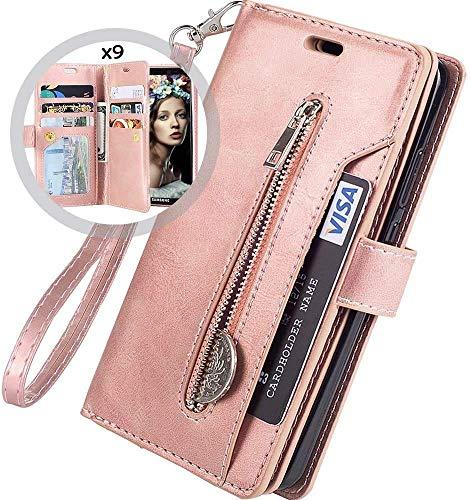 Kompatibel mit Samsung Galaxy S10 Leder Hülle,URFEDA Handytasche Schutzhülle Tasche Case [ 9 Kartensteckplätze ] Reißverschluß Brieftasche Flip Ständer Magnetverschluss Klappehülle,Rose Gold