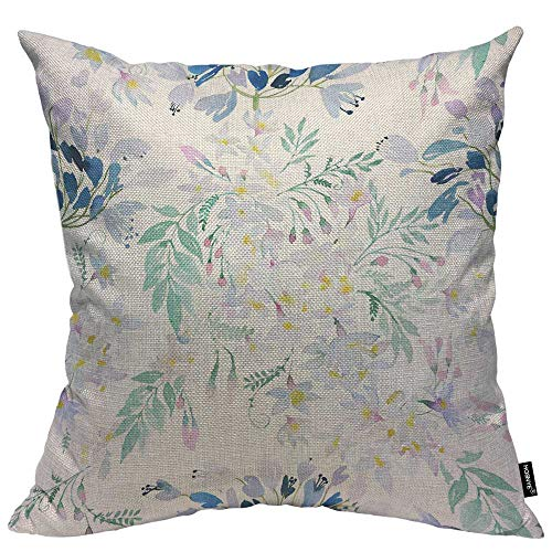 HOSNYE Watercolor Spring Flowers Botanical Throw Pillow Case Cushion Covers Fresh Floral After Rain Cotton Linen for Couch Bed Sofa Car Waist 18 x 18 inch