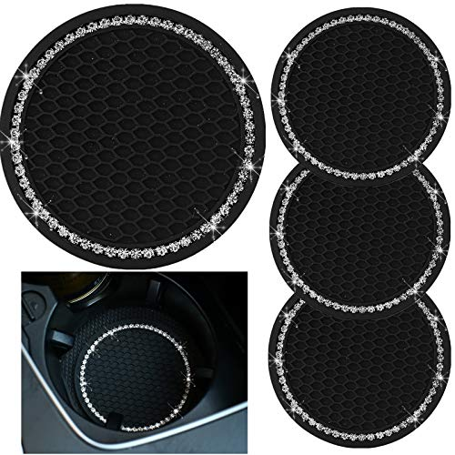 tunfo 4pcs 2.75' Bling Decor Crystal Rhinestone Car Cup Holder Coaster Insert Cup Mat,Car Bling Ring Emblem Sticker Bling Car Accessories for Home and Interior Car Decor Accessory, White