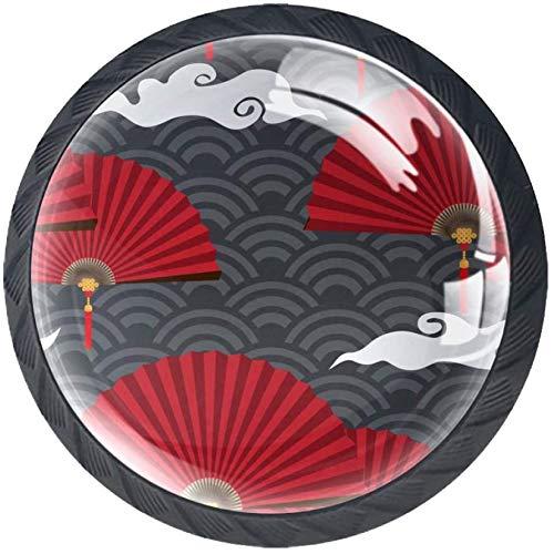 Rote chinesische Faltfächer 4 Stück Schubladenknöpfe Kommode Möbelknöpfe glas Moebelknauf Griff Garderobe Ziehgriffe Möbelgriff