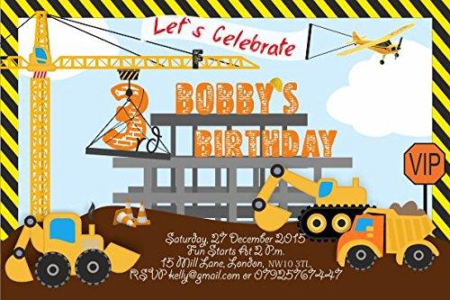 10 x camions personnalisé enfants Fête d'anniversaire Invitations ou cartes de remerciement