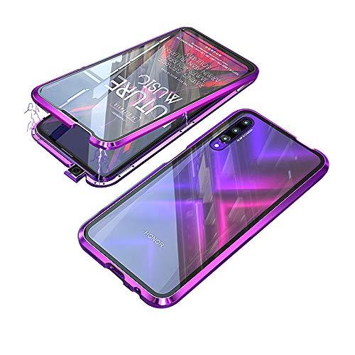 Jonwelsy Kompatibel für Huawei Honor 9X Pro (6,59 Zoll) Hülle, 360 Grad Vorne & Hinten Gehärtetes Glas Transparente Hülle Cover, Stark Magnetische Adsorption Metallrahmen Handyhülle (Lila)