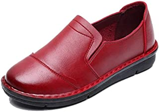 C-TS Women's Leather Loafers Casual Slip-On Moccasins Comfor.