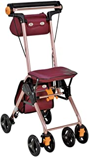4 Wheels Portable Walking Aids Foldable, Rollator Walker with Seat, Medical Rolling Walker Double Brake System, Used for S...