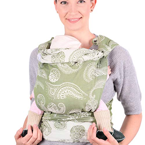 SCHMUSEWOLKE Mei Tai Babytrage Neugeborene und Kleinkinder Caribbean Olivine BIO-Baumwolle Babysize 0-24 Monate 3-16 kg Bauch-und Rückentrage
