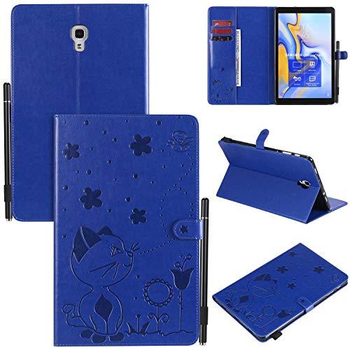 """Miagon Smart Hülle für Samsung Galaxy Tab A SM-T590/T595 {10.5""""},Pu Leder Katze Biene Schutzhülle Case Cover mit Auto Schlaf/Wach Ständer Stift Halter Funktion,Blau"""