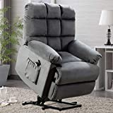 ANJ Power Lift Recliner Chair Safety Motion Reclining Chair for Elderly - Heavy Duty Fabric Overstuffed Sofa for Living Room with Side Pocket (Bluish Grey)
