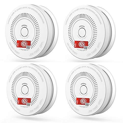 LKK-Detector 4er-Pack Rauchmelder, einfach zu installierende, batteriebetriebene 9-V-Rauchmelder...