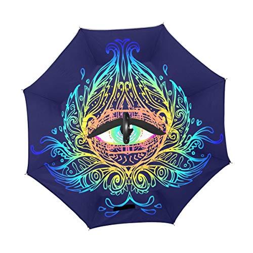 rodde Paraguas Ojos Sagrados Mandala de Halloween Invertida de la Vendimia Reversible Revertida Lluvia del Sol para el Uso al Aire Libre del Coche con la manija en Forma de C