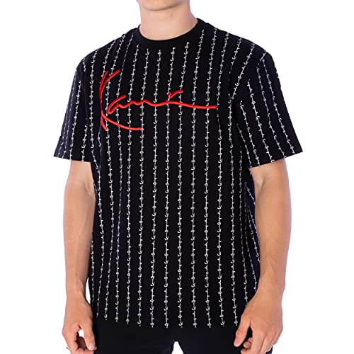 Karl Kani Herren T-Shirt Signature Logo Pinstripe Black (S)