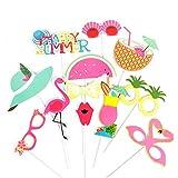 SUNBEAUTY Summer Party Decor Photobooth Tropical Accessoire Deguisement Masquerade Ete Decoration Flamingo Party Photo Booth Props (12pcs)