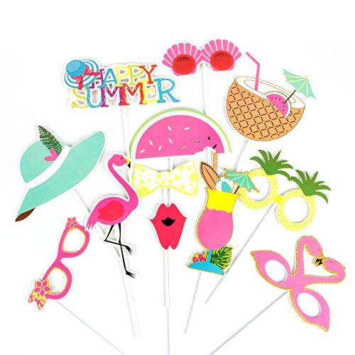 SUNBEAUTY Photobooth Tropical Summer Party Decor Accessoire Deguisement Masquerade Ete Decoration Flamingo Party Photo Booth Props (12pcs)