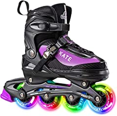 BUY WITH CONFIDENCE - Include:1 x Inline Skate, 1 x Wheel with Bearing, 1 x Brake Pad. We offer 30 DAYS MONEY BACK GUARANTEE and 12 MONTHS WARRANTY. Please feel free to contact us if you have any questions. 4 SIZES ADJUSTABLE - A pair of shoes that c...