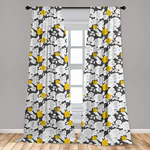 """Ambesonne Rose Curtains, Hand Drawn Style Retro Romantic Blossoms in Yellow and White Tones, Window Treatments 2 Panel Set for Living Room Bedroom Decor, 56"""" x 84"""", Charcoal Grey"""