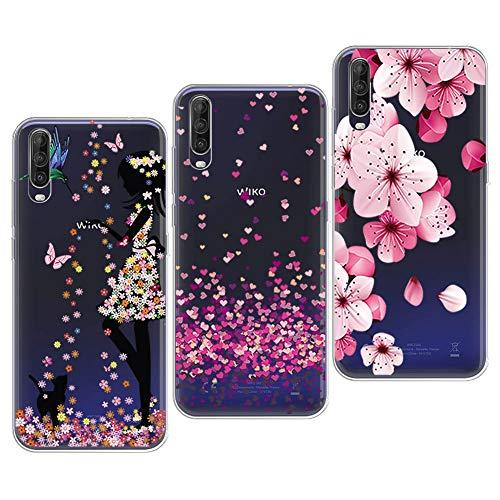 PZEMIN 3 Stück für Wiko View 4 Lite Hülle Handyhülle Silikon Gummi Clear Schale Transparent Durchsichtig TPU Bumper Schutzhülle, Hübsches Mädchen + Liebe + Pfirsichblüte