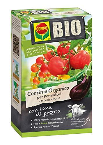 COMPO BIO Concime Organico per Pomodori e Orticole da Frutto, Con Lana di Pecora, 5 mesi di durata, Consentito in agricoltura biologica, 750 Grammi