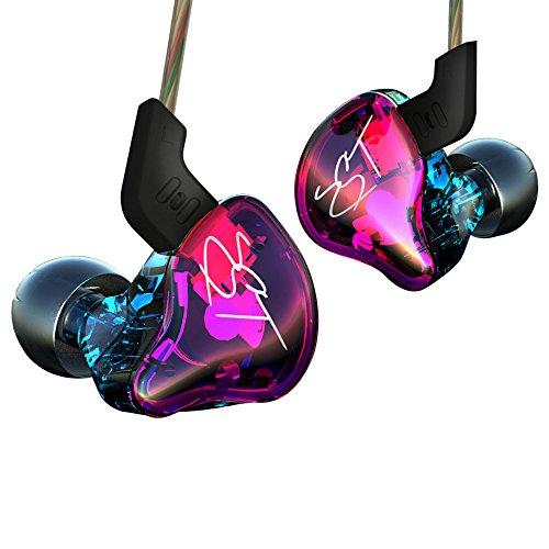 Fizbest KZZST - Auriculares de diadema con doble controlador (cable desmontable para monitor de audio, aislamiento de ruido, música HiFi) Without Mic Colorful Version