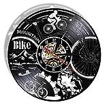 XYLLYT Reloj de Pared con Disco de Vinilo para Bicicleta de montaña, Bicicleta de montaña, Arte de Pared Retro Negro, decoración del hogar, Reloj de Pared silencioso, Regalo de Bicicleta de Aventura