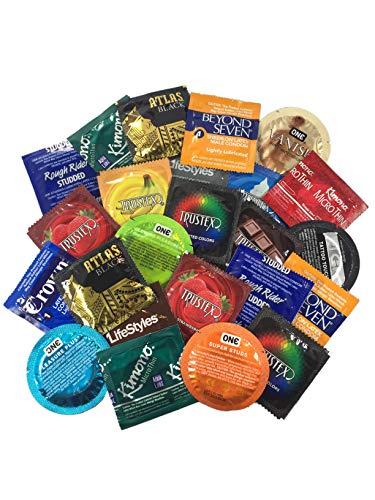 Ultimate Grab Bag of Condoms + Brass Lunamax Pocket Case, Ultimate Sampler Pack of Latex Condoms-24 Count