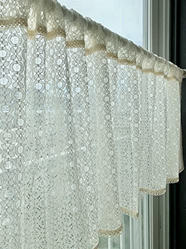 cozymomdeco Cotton Blended Lace Curtain Off-White Color Cafe Curtain Kitchen Curtain Window Valance Farmhouse Home Decor